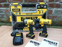 Dewalt cordless 10.8v drill and impact driver kit lithium 2x 1.5ah batteries and case