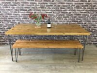 Tables & Benches Pine Top Rustic Industrial Steel Hairpin Legs. From £73.00.