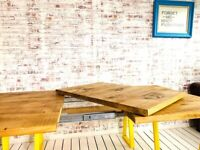 Extending Industrial Dining Table / Bench Sets with Tapered Frame - Any RAL Colour or Steel Finish
