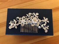 Wedding hair piece - silver