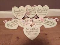 Joblot of 8 brand new wooden heart signs