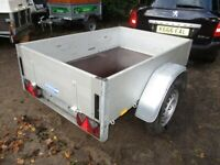 ANSSEMS 5-2 X 3-6 (499KG) ALLOY / GALV STEEL GOODS TRAILER WITH DROPTAIL....