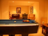 Slate Bed Pool Table with Blue Cloth and Two Cues