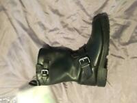 Motorcycle leather boots biker motorbike