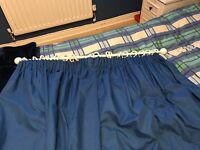 Blue blackout lining curtains with rail, rings and hooks