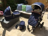 Joolz day parrot blue pushchair and bassinet with accessories and maxi cosi adpater