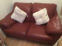 Chestnut Brown deep cushioned leather sofa