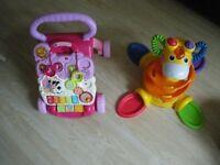 Bargain toys! Vitech push along First steps baby walker plus Fisher Price Giraffe