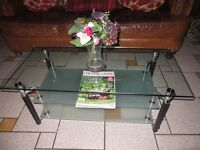 Glass Coffee table with frosted shelves