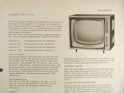 STADION TYP 1171,105 Fernseher Serviceblatt 17 Schaltplan Anleitung RFT DDR