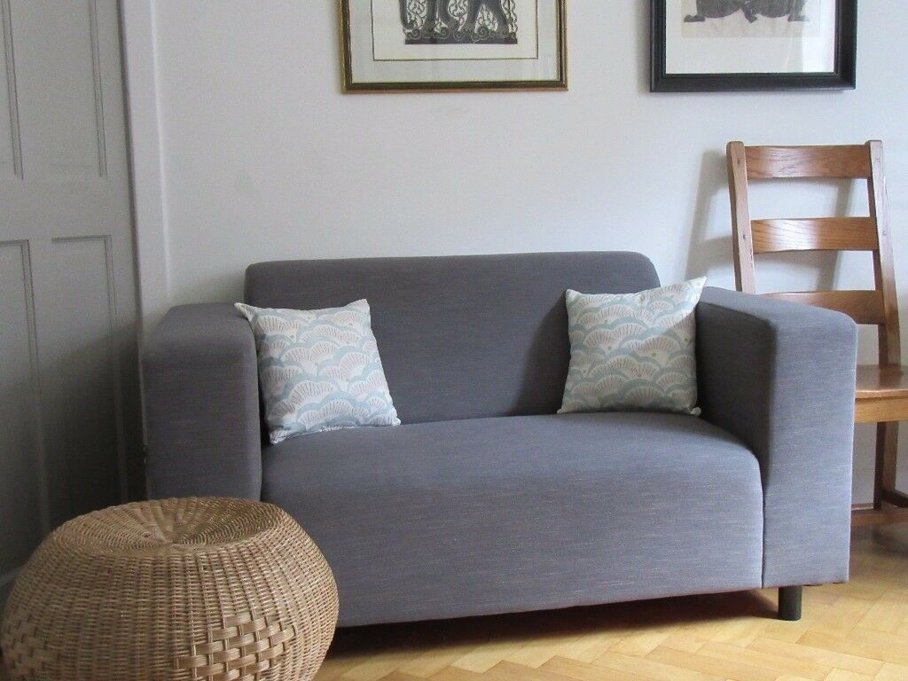 Mid grey sofa - hardly used - professionally re-upholstered