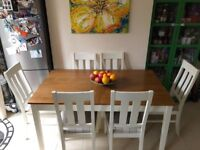 "Two-tone extendable dining table & 6 faux leather/upholstered chairs-Homebase""Wiltshire"" -6/8 people"