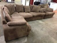 3 Piece Brown Fabric Corner Suite