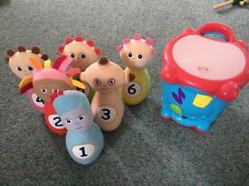 Baby toys - night garden skittles, chad valley drum