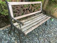 Wooden Garden bench with cast iron ends
