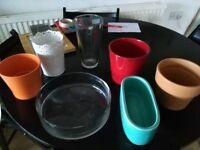 Glasses, ceramic and metal vases
