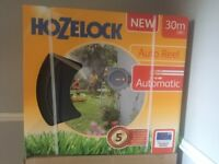 Hozelock Auto Wall Mounted Garden Water Hose Pipe Reel with 30m Hose + Connector SALE Brand New