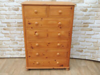 Satin Tallboy 7 Drawer Large Chest on Bun feet (Delivery)