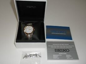 Seiko solar powered wristwatch. Brand New, never worn.