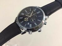 New Patek Philippe Chronograph Silver Case Watch, LEATHER STRAP