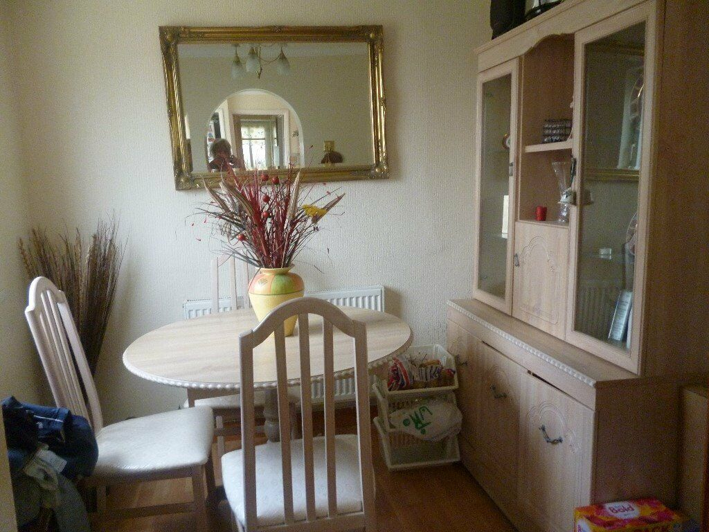 Fabulous Dining Table Four Chairs Wall Unit Excellent Condition In Llansamlet Swansea Gumtree Machost Co Dining Chair Design Ideas Machostcouk