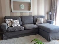 3 seater sofa with moveable chaise longue in charcoal grey.