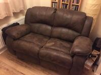 2 x 2 seater recliner brushed leather sofas. Brown.