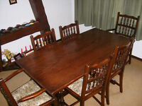 Large Jaycee Chippendale Style Oak Dining Table and Six Chairs