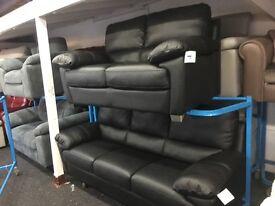 New/Ex Display Reid Prezzo 3 + 2 Seater Black Leather Sofas
