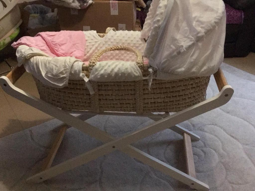 MotherCare Moses Basket with fitted sheets