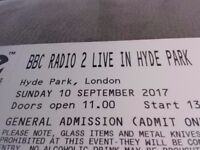 BBC Radio 2 Live in Hyde Park 10th sept 2017. Family ticket 2 adult 2 kids