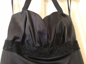 Ladies black satin evening dress size 6-8. Warehouse