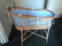 Vintage Wicker Baby Bassinet