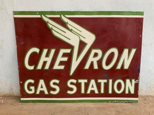 CHEVRON GAS STATION 48X36 INCH PORCELAIN ENAMEL SIGN SINGLE SIDE