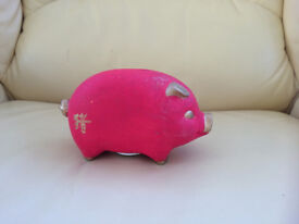 New - Piggy bank in red with 'pig' chinese character