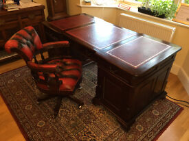 Large Mahogany Partners Desk and Captains Chair
