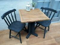 Charming Cruciform Bistro Dining Table and 2 Farmhouse Chairs. Solid Oak/Wood.