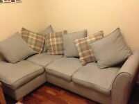 Right facing corner sofa bed, swivel chair and matching foot