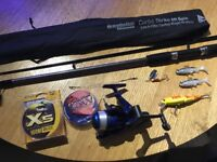Carbo Strike 6ft Spinning complete set up, rod, reel and lures + extra line.