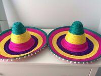 2 x BRAND NEW Multicoloured Sombreros Fancy Dress