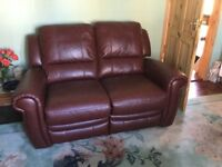 Furniture Village Leather Arizona 2 seater sofa and 2 chairs excellent condition