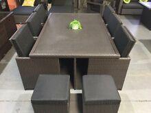 OUTDOOR custom CONCRETE 11 piece rattan dining set Hendon Charles Sturt Area Preview