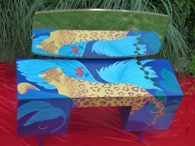 Vintage Dressing Table. Hand painted Jaguar in the jungle on deep blue background