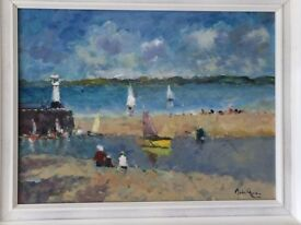 "John Ambrose RSMA (1931-2010) Signed Oil, ""Sailing of the harbour"" St Ives Cornwall"