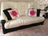 DFS Cream Leather 3 seater 2 seater 1 chair and footstool