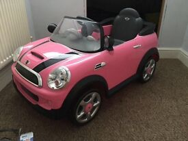 Pink Mini Cooper electric car
