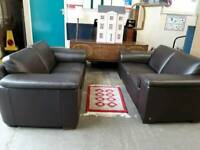 Good Quality Barker and Stonehouse Brown Leather 2 and 3 Seater Sofas