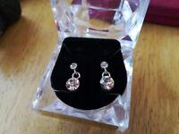 Genuine crystal silver plated earrings