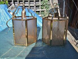 2 large, brass effect metal/glass lampshades