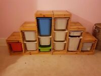 Two IKEA wooden stepped storage units
